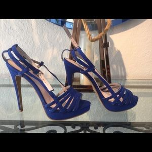 NWOT Blue beautiful suede heels